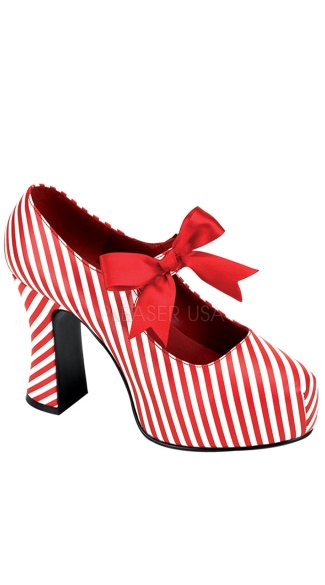 Candy Cane Pump, Red and White Striped Shoes, Christmas Costume Shoes