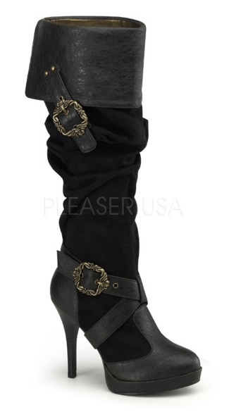 Cuffed Knee High Boots with Buckles, Cuffed Pirate Boots, Cuffed Boots