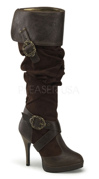 Cuffed Knee High Boots with Buckles