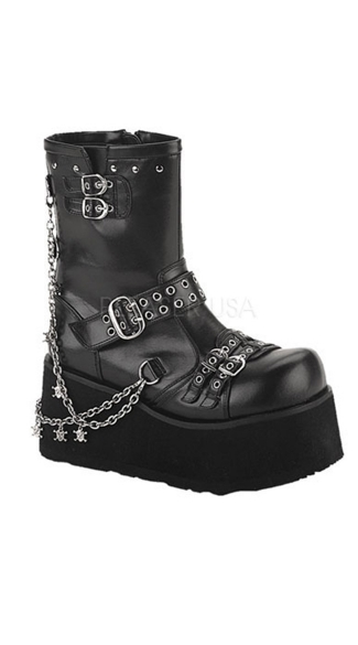 Goth Punk Calf High Boots, Boots with Chains, Chunky Boots
