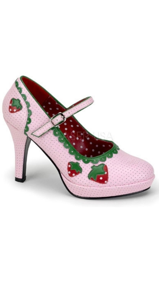 Strawberry Short Cake Mary Jane Pump, Strawberry Shortcake Shoes, Strawberry Pink Shoes
