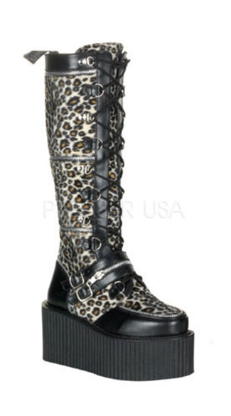 3 1/4 Inch Platform Goth Punk Cosplay Zippered Cheetah Creeper Boot
