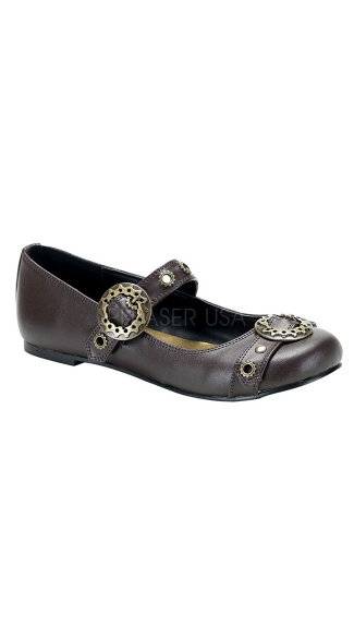 Steampunk Goth Punk Ballet Flat Mj W/ Gear Buckle