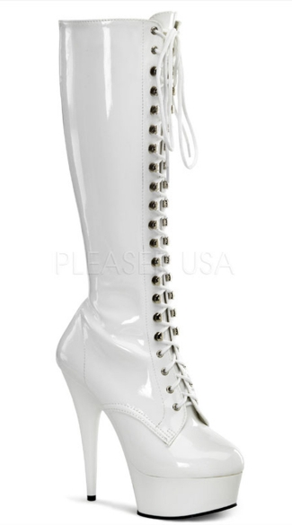 6 Inch Lace-up Stretch Platform Knee Boot with Side Zipper