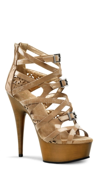 6 Inch Heel, 1 3/4 Inch Pf Strappy Criss Cross Bootie Sandal