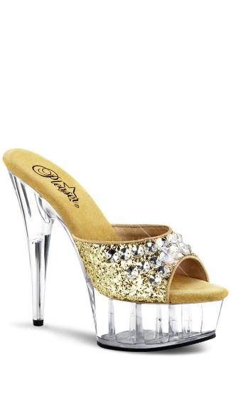 6 Inch Heel, 1 3/4 Inch Pf Slide Featuring R/s Embellished Upper