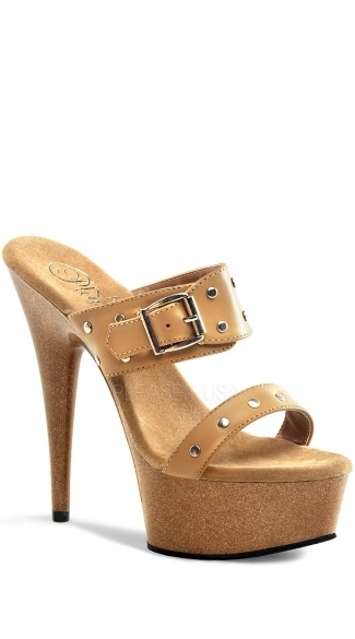 6 Inch Stiletto Heel Faux Wood Pf Slide W/st
