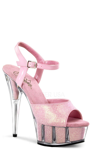 6 Inch Heel, 1 3/4 Inch Glitter Filled Pf Ankle Strap Sandal