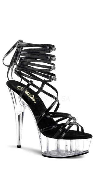 6 Inch Heel, 1 3/4 Inch Pf Strappy Wrap Around Ankle Strap Sandal