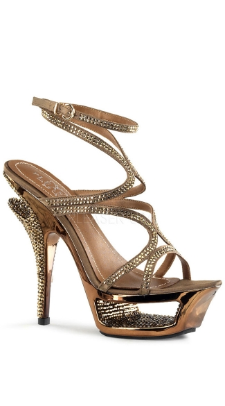 5 1/2 Inch Heel, 1 3/4 Inch Cut-out Platform Ankle Wrap Strappy Sandal