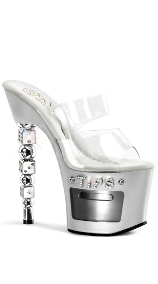 7 Inch Rs Embellished Stacked Dice Heel, 3 1/4 Inch Pf Slide