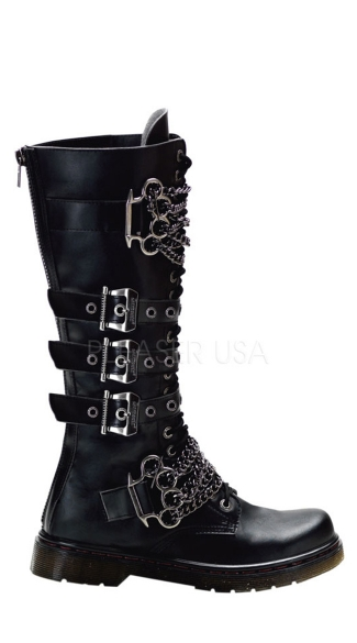 Mens 20 Eyelet Knee Vegan Combat Bt W/ Brass Knuckles-chain