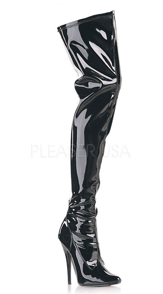 6 Inch Plain Stretch Thigh Boot, Side Zip