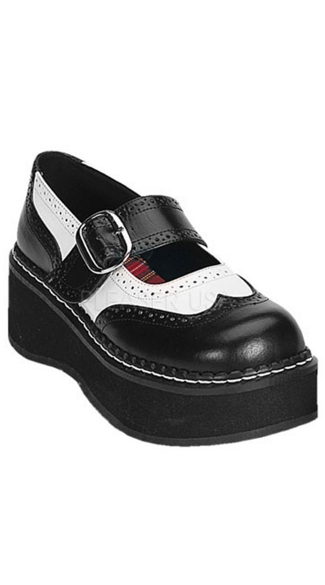 2 Inch P/f Goth Punk Lolita Rockabilly Blk/wht Oxford Mj