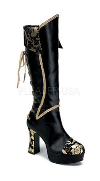"4"" Heel, Black And Gold Pirate Boot"