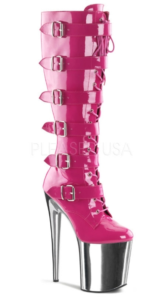8 Inch Heel, 4 Inch Pf Front Lace-up Buckled Strap Knee Boot