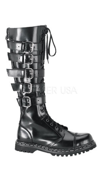 Mens 20 Eyelet Blk Leather 5 Strap S/t Knee Boot