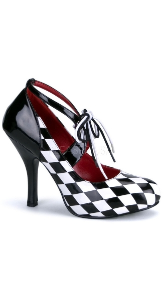 "4"" Heel Black/white Harlequin In Diamond Printed Patent"