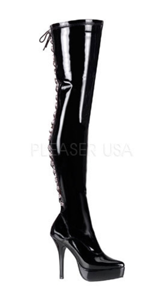 Lace Back Thigh High Boot