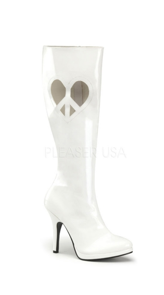 4 1/2 Inch Heel, 1/2 Inch P/f Knee Boot W/ Heart Shape Die Cut