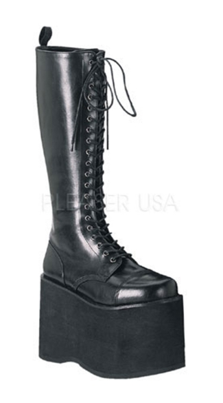 Mens 5 3/4 Inch Goth Punk Cyber P/f Lace Up Blk Pu Knee Bt W/ Zipper