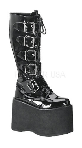 Mens 5 3/4 Inch Goth Punk Cyber 5 Buckle P/f Knee Bt W/ Zipper