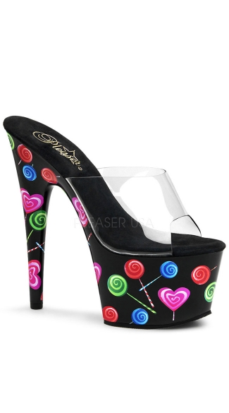 "7"" Stiletto Heel Lolliop Print Platform Slide"
