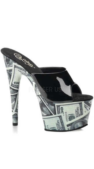 7 Inch Stiletto Heel Money Print Platform Slide