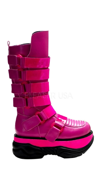 Mens 3 Inch Platform Green UV Reactive Cyber Goth Boot With 6 Straps & Zipper