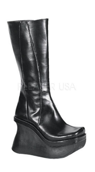 4 1/2 Inch Goth Lolita Wedge Black Platform Knee Boot