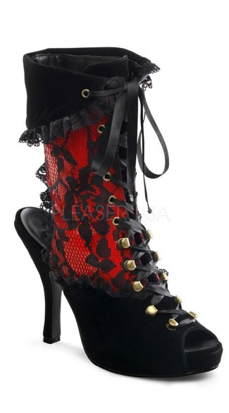 4 1/2 Inch Heel, 3/4 Inch Pf Pirate Lace Up Ankle Bootie