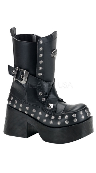 3 1/2 P/f Goth Punk Bt W/ Stud Buckle Detail & Zipper