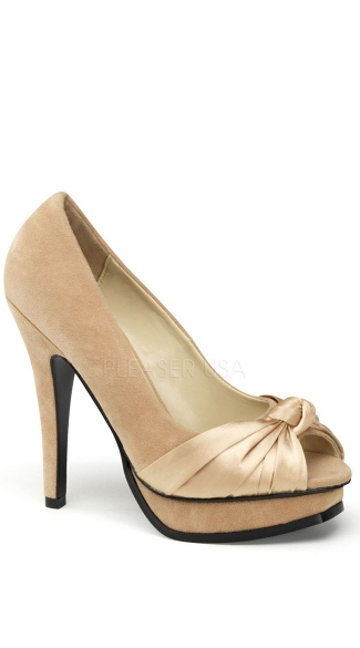 Open Toe Pump With Pleated Detail