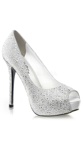 5 Inch Heel, 1 Inch Concealed Rs-covered Peep Toe Pump