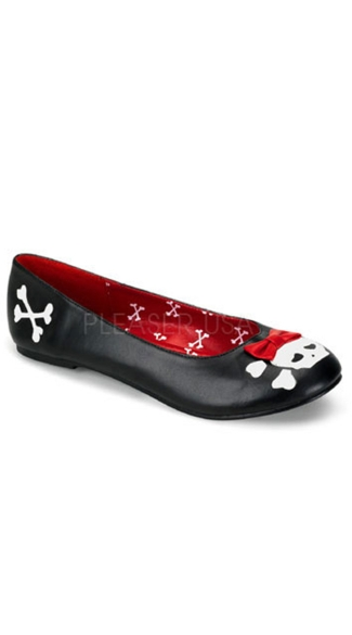 Skull Print Ballet Flat With Decorative Bow