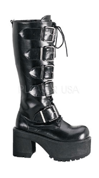 Mens 3 1/2 Inch Goth Punk P/f Blk Pat Knee Bt W/ 5 Straps & Zipper