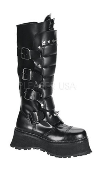 Mens 2 2/3 Inch P/f S/t Leather Knee Bt W/ Straps Spikes & Zipper