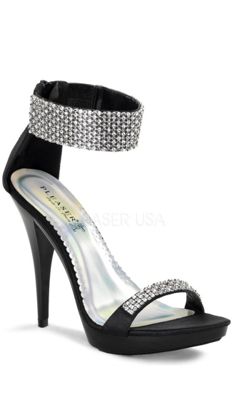 4 3/4 Inch Rhinestone Ankle Strap Stiletto Shoe, Rhinestone Stiletto Shoe