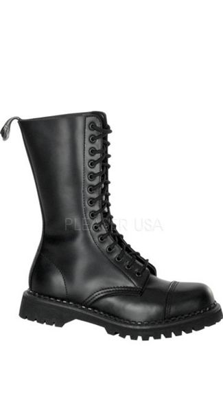 Mens 14 Eyelet Combat Biker Goth Punk S/t Blk Leather Calf Boot