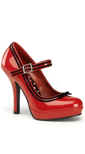 "4 1/2"" Heel, 1/2\"" P/f Mary Jane Pump W/ Contrast Trim"