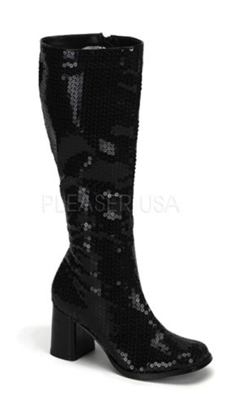 "3"" Block Heel Sequin Knee Boot, Sequin Go Go Boots"