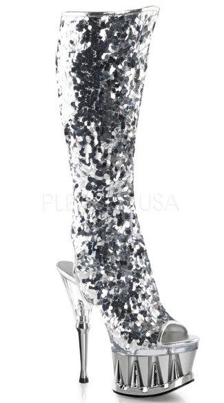 Sequin Peep Toe Knee Boot