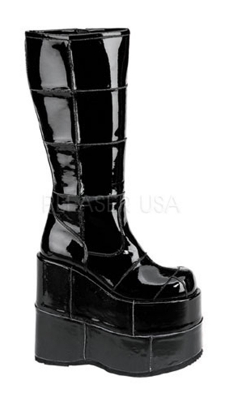 Mens 7 Inch P/f Goth Cyber Gogo Punk Patched Blk Pat Knee Bt