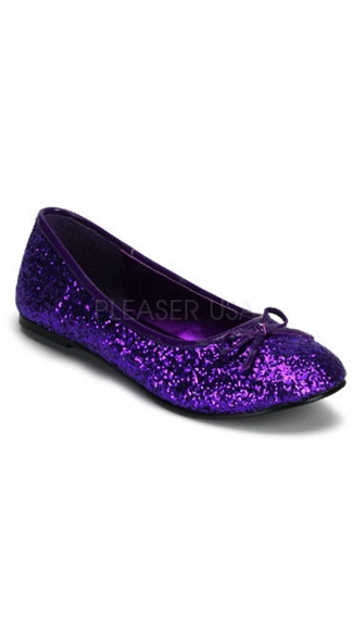 Adult Ballet Glitter Flat With Bow Accent, Fantasy, Fairy