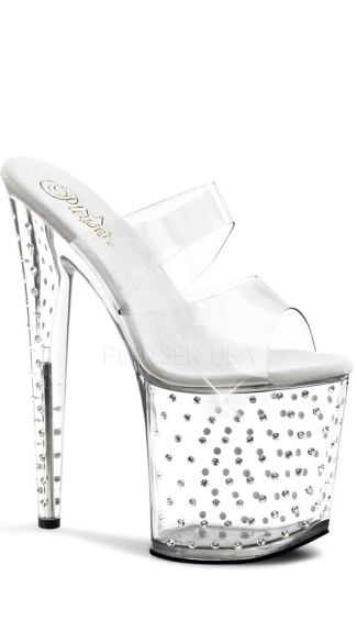 8 Inch Heel, 4 Inch Platform Two Band Slide