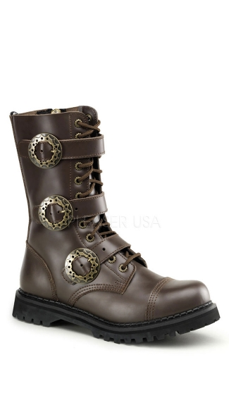 Mens 12 Eyelet Steampunk 3 Strap S/t Blk Leather Calf Boot Zipper
