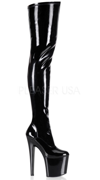 7 1/2 Inch Stliletto Heel Stretch Platform Thigh Boot