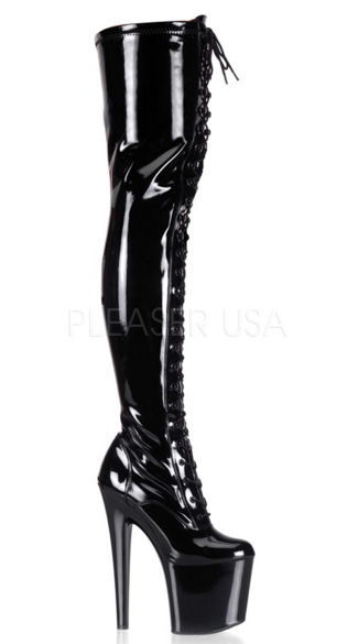 7 1/2 Inch Stiletto Heel Stretch Platform Thigh Boot