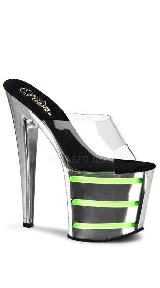 7 1/2 Inch Heel, 3 1/2 Inch Platform Slide With UV Tubes