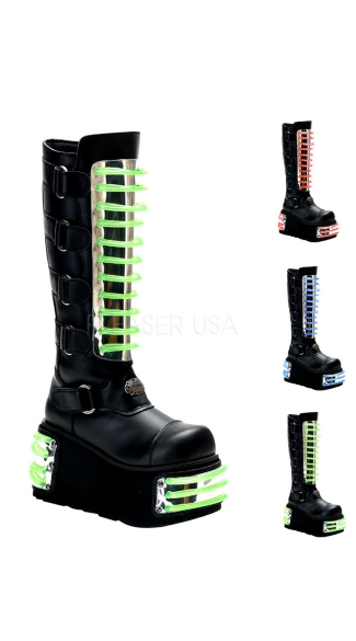 Mens 4 Inch P/f Cyber Goth Knee Bt W/ 3 Interchangable Uv Panels